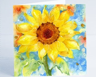 Sunflower Flower Greeting Card by Sheila Gill