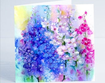Delphiniums Flower Greeting Card by Sheila Gill