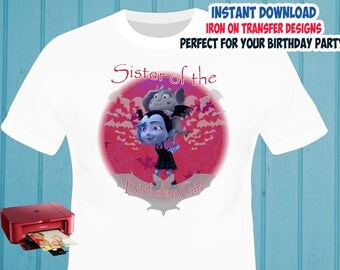 Vampirina , Sister , Iron On Transfer , Vampirina Sister Birthday Shirt Designs , Vampirna DIY Sister Shirt Transfer , Digital Files