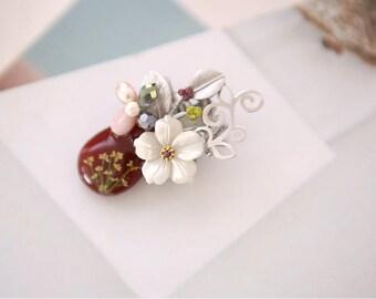 Lace Flower Brooch, Pressed Flower Brooch