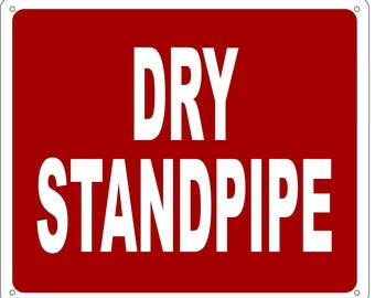 Dry Standpipe Sign (RUST FREE Aluminium ,Reflective , RED 10 x 12)