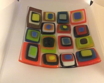 Colorful fused glass shallow dish