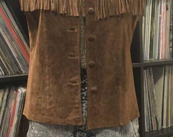 Suede western fringed vest