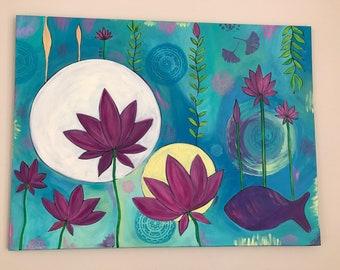 United , sun , moon , lotus flower , flower, intuitive art, whimsical art .