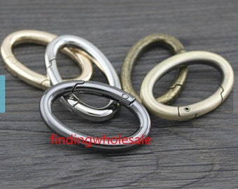 4 pcs Brushed Brass light golden silvery bronze gunmetal oval spring gate ring spring ring clasp oval spring ring 171