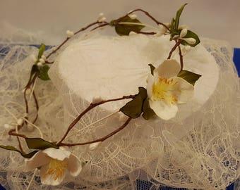 Wreath of silk flowers