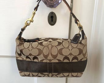 Coach Signature Brown Canvas and Leather Small Logo Pattern Purse