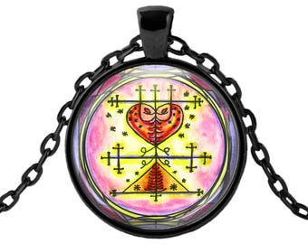 "Maman Brigitte Veve Lwa Spirit World Blessings Love Voodoo Magic Glass Talisman Necklace Pendant in 1"" Round  2"" Huge Oval"