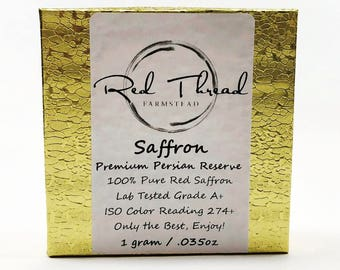 Saffron, 100% Pure, Fresh, Premium Red Threads → 1 gram/.035oz Gold Bar