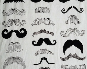 Mustache Fitted Crib Sheet
