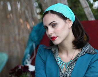 turquoise, blue haed Band,  Tichel  Lace  Bandana, Head Covering,scarf, Half Coveing,easy-tied,loss Hair,wig, solid covered full head