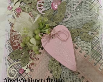 Handemade luxurious All occasions, Valentine's Day, Anniversay, Birthday shabby chic card