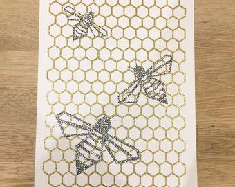 Bee Honeycomb Geometric Papercut Art Handcut on Gold Glitter