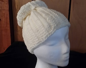 Cream Ivory Crocheted Messy Bun Ponytail Beanie Hat