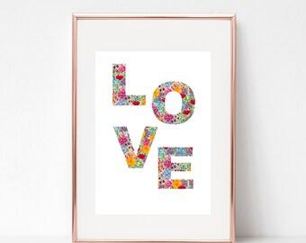 LOVE letter flower print