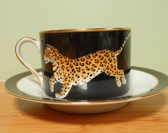 Lynn Chase Jaguar Jungle Cup and Saucer 24k Signed