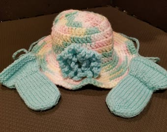 Multi-Color Baby Girl Brimmed Hat with Green Flower and Green Thumbless Mittens