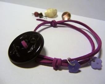 Purple and Navy suede adjustable bracelet, vintage buttons