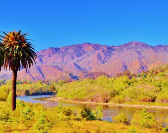 A beautifully vibrant color mountain landscape photo of Malibu, California available on various wood framed canvases