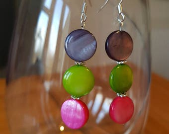 Flat Glass Bead Drop Earring