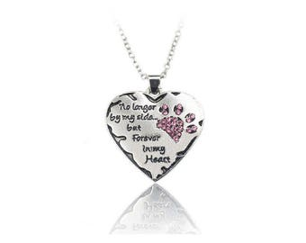 Pet Memorial Necklace - Dog Lover - Cat Lover - Paw Print - Silver Heart - Heart Pendant - No Longer By My Side But Forever In My Heart