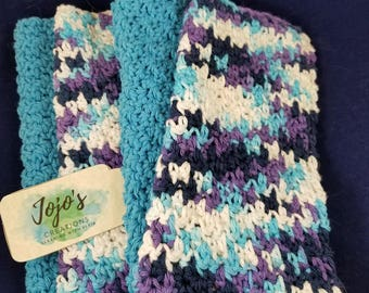 crochet washcloth, kitchen dishcloths, cotton washcloth, teal and purple