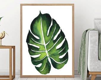 Monstera Print - Botanical Wall Art, Leaf Printable, Green Plant Print, Minimalist Poster, Scandinavian Wall Art, Monstera Leaf