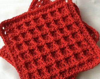 Set of 3 Crocheted textured dishcloth/washcloth