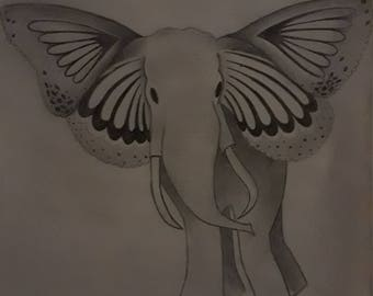 Elephant with butterfly wing ears