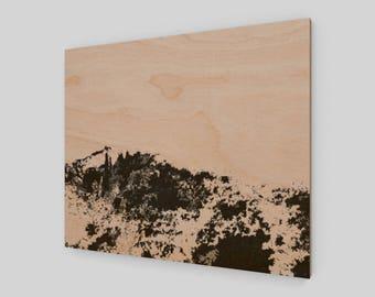mountain black and white print on wood