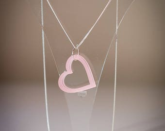 Heart Shaped Acrylic Pendant Silver Necklace