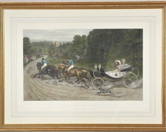 """Antique Lithograph Titled """"Home From The Honeymoon"""" After S.E. Waller"""