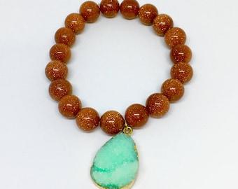 10 mm Natural Gold Sandstone Bracelet with Druzy Agate Charm