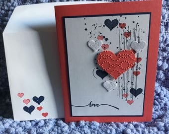 5 handmade love valentines cards blank inside with matching envelopes