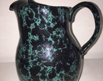 "Bennington Potters 8"" Green Agate Pitcher 60oz 2072 Vermont Pottery David Gil"