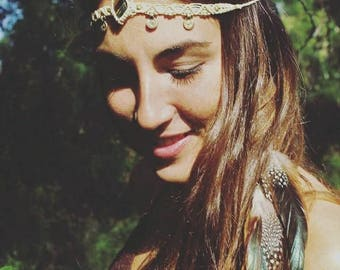 Tiger eye & feathers Headband tiara/hand made macrame tribel/hippie TIARA/power of the third eye/BOHO chic fastival feathers headband