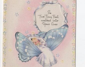 Vintage Butterfly Baby Card | Pastel Butterflies | Used Congratulations Card | Wishing Well Made in USA | Paper Ephemera