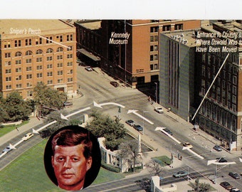 Vintage JFK Assassination Site Postcard | President, John F Kennedy, Chrome, Crime, Dealey Plaza, Shooting  | Paper Ephemera