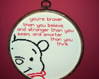 Motivational Winnie the Pooh stitch