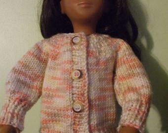 Sasha doll, randon pattern cardi