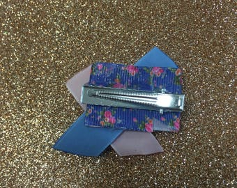 Mini hair clip - blue and pink