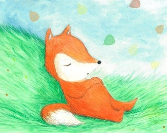 Sleeping fox, original art, illustration, for kids, room, cute, picture, nature, love, sleepy, dreaming, boy, girl, leafs, orange, green
