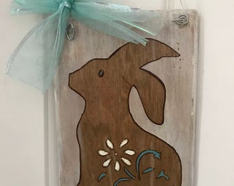 Bunny with Teal Bow wall decor