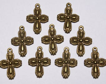 """9 Small Double Sided Bronze Crosses 3/4"""" in length & 1/2"""" in width. DIY Crafts. Jewelry Supplies."""