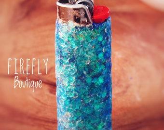 Aqua Mermaid Glitter Lighter
