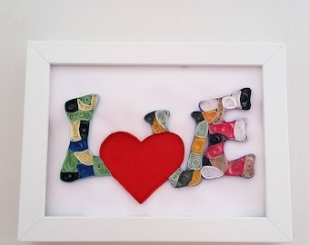 LOVE-Paper Quilling Art, Home Decor