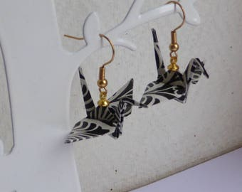 black and white cranes origami earrings