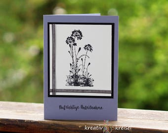 Mourning card, black flowers, with grey and schwa