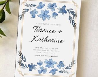 Wedding Event Invitation Indigo Deco Stationary