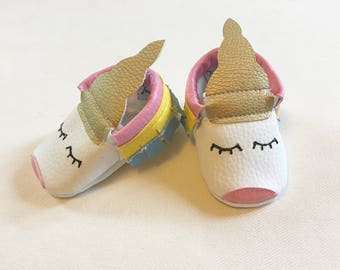 Unicorn Vegan Baby Moccasin from Faux Leather to Boy or Girl to Gift/Baby shower or just because